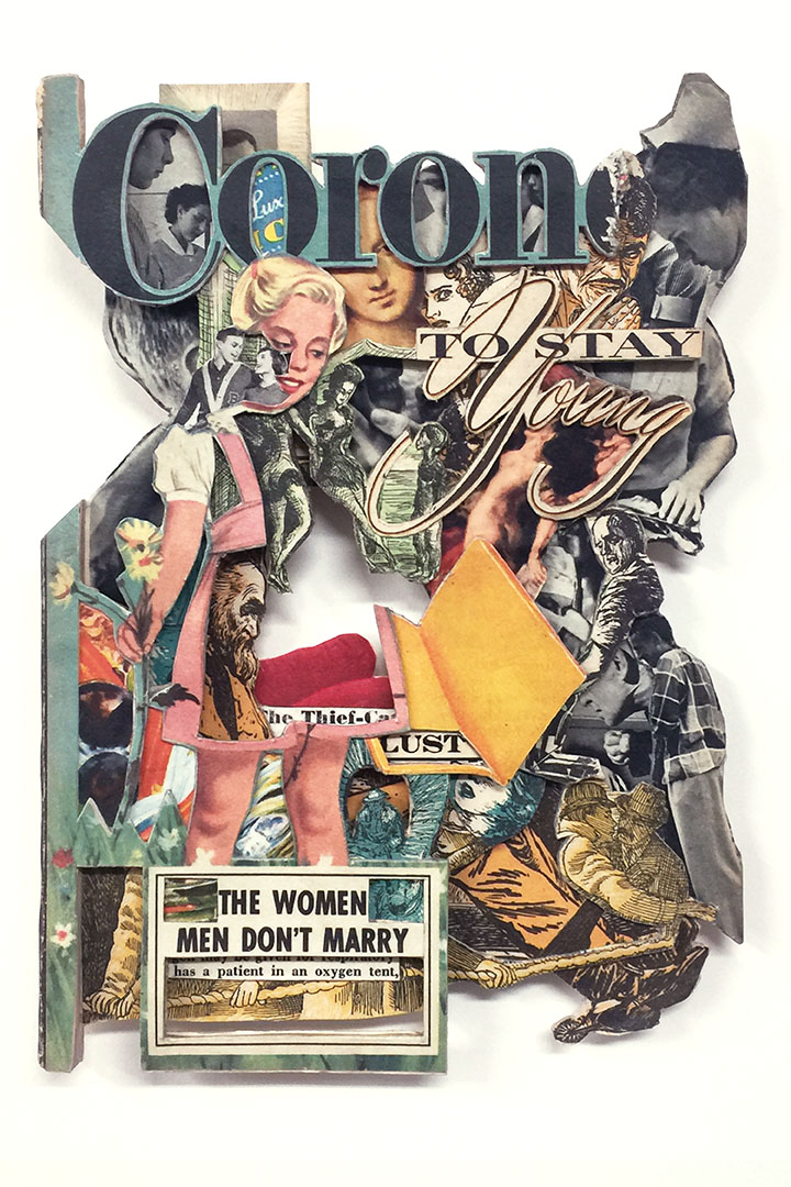To Stay Young, 2020, Vintage magazine, acrylic varnish,