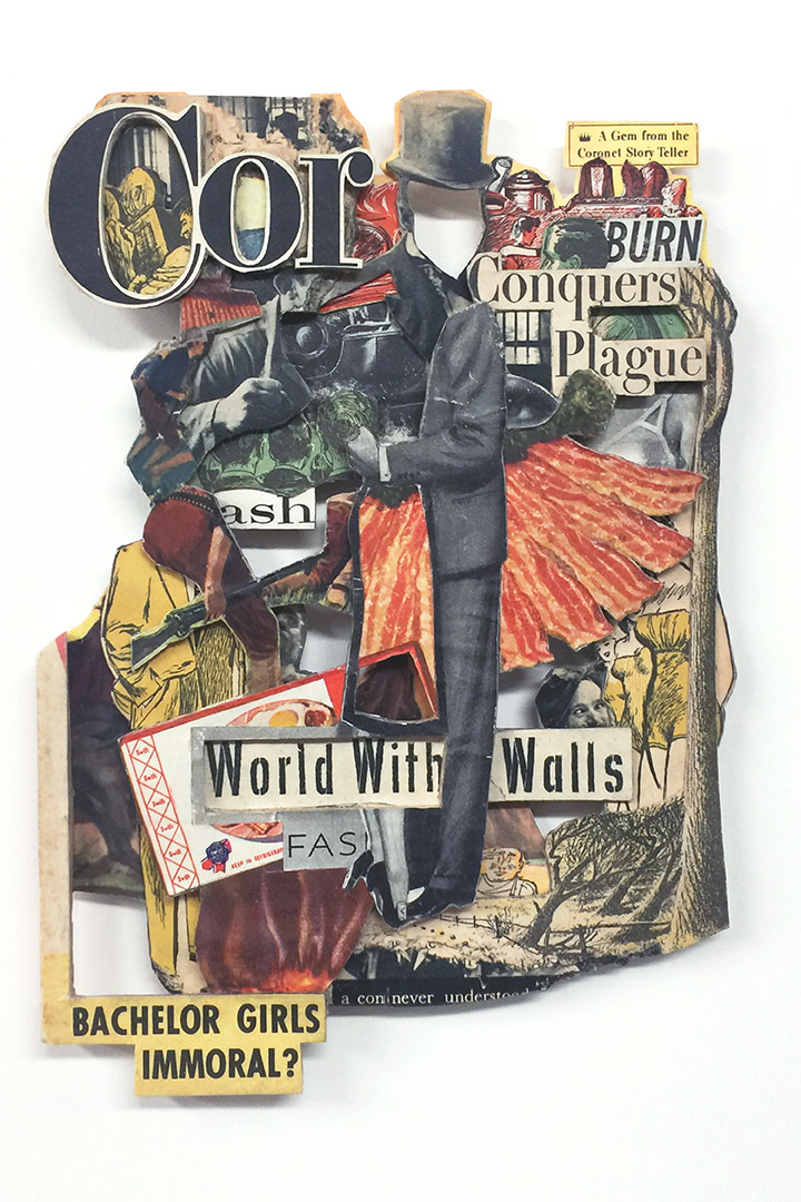 Conquers Plague, 2020, Vintage magazine, acrylic varnish