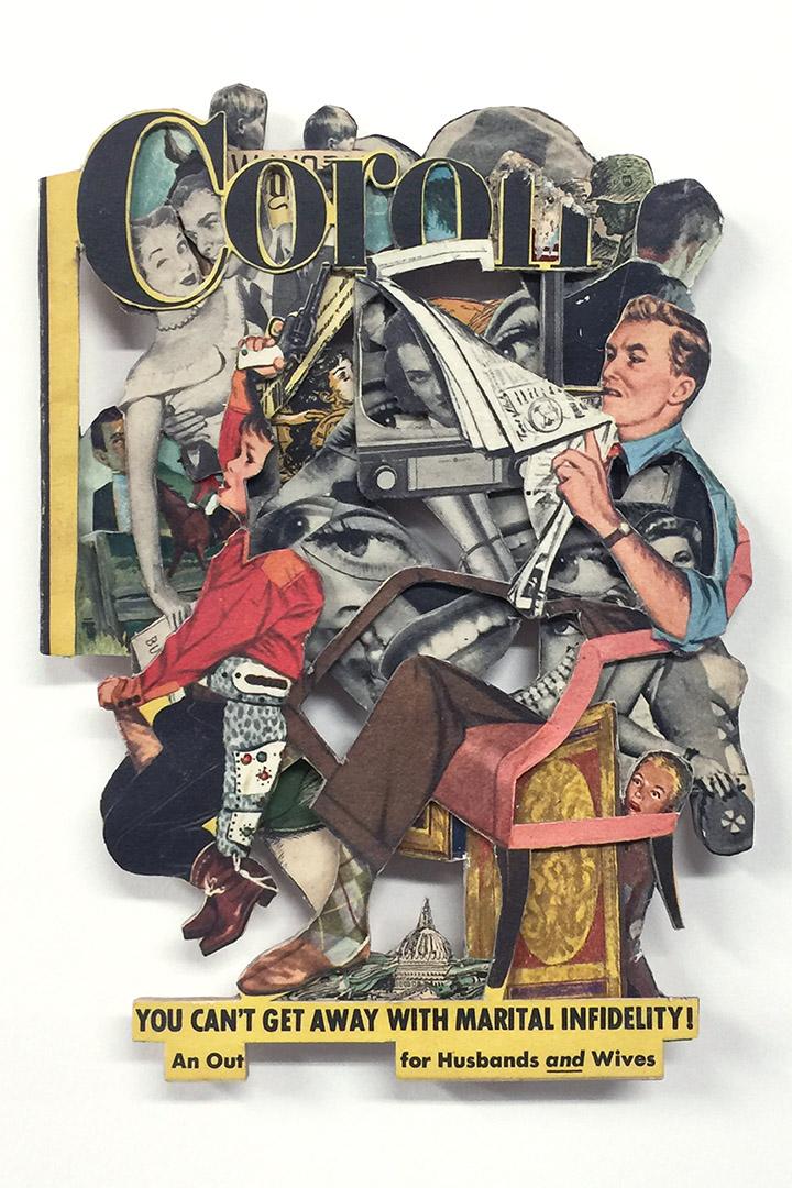 An Out, 2020, Vintage magazine, acrylic varnish,