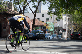 Cyclist in Berkeley streets