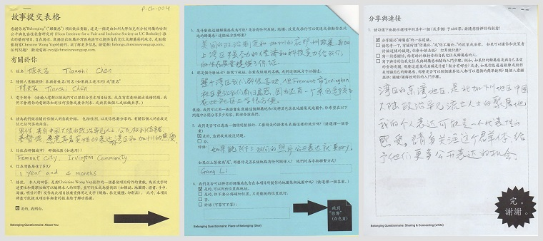 Documentation of completed story forms by participant Tianshi Chen.