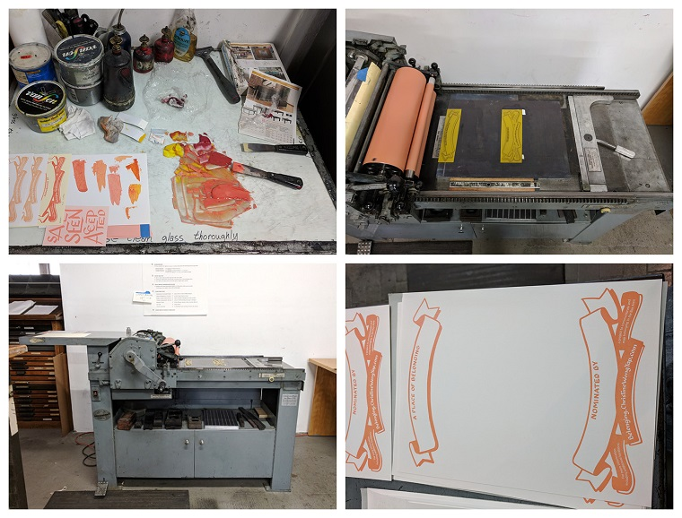 Process photos of printing certificates: mixing rubber-based inks, setting up the polymer plates on the press bed, the Vandercook letterpress, the print.
