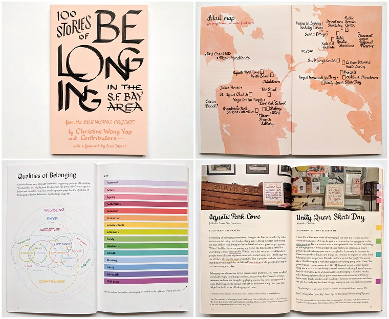 Christine Wong Yap and contributors, 100 Stories of Belonging in the S.F. Bay Area, 2019, digitally printed book, 116 pages, 8.5 x 5.5 inches.