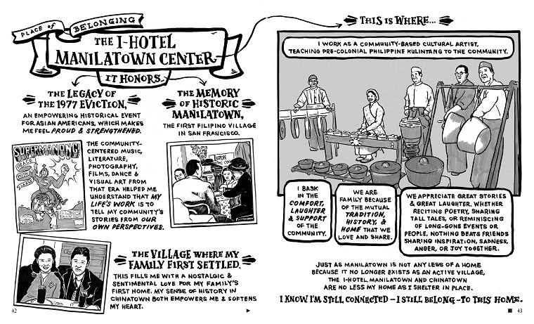 Christine Wong Yap with contributors, Alive & Present: Cultural Belonging in S.F. Chinatown and Manilatown (spread from English comic book: from Caroline Cabading's story of belonging at the I-Hotel Manilatown Center), 2020, community-engaged process, 56-page comic book, 8.5 x 14 inches.
