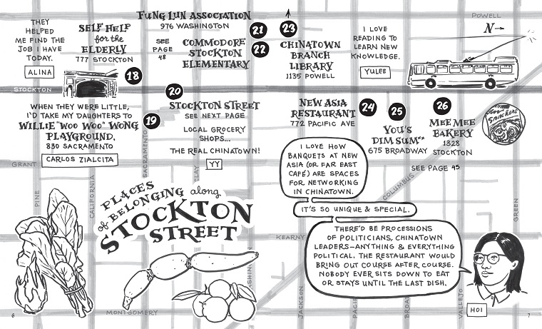 Christine Wong Yap with contributors, Alive & Present: Cultural Belonging in S.F. Chinatown and Manilatown (spread from English comic book: illustrated map of places of belonging along Stockton Street), 2020, community-engaged process, 56-page comic book, 8.5 x 14 inches.