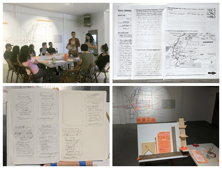 Process photos: Upper left: Workshop with Working Classroom interns (photo: Gabrielle Uballez). Upper right: Questionnaires designed by the artist, collecting stories of belonging. Lower left: Sketches for signs. Lower right: Studio view for hand-painting signs to commemorate places of belonging.