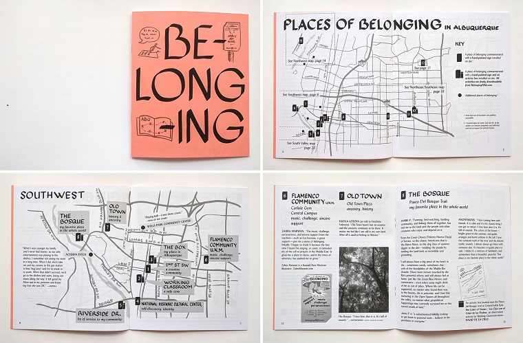 Christine Wong Yap, Belonging Zine (cover, citywide map, quadrant map, and stories of belonging), 2017, laser output, 8.5 x 7 inches folded, 24 pages, first edition of 150.