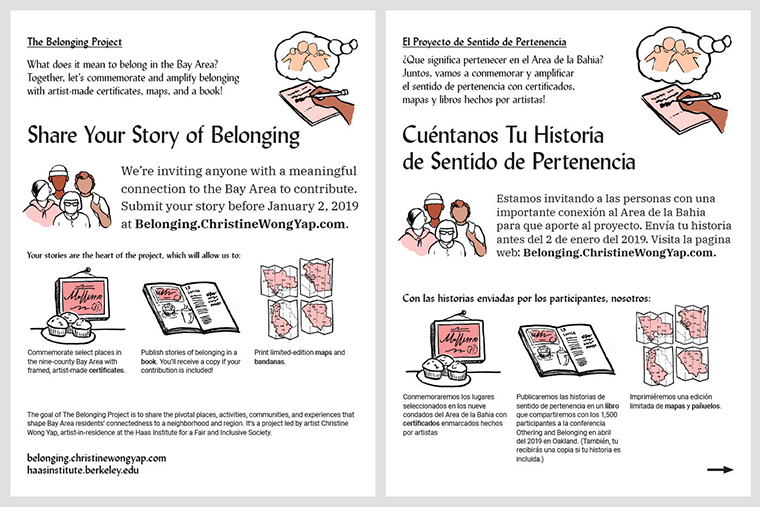 Christine Wong Yap, untitled outreach flyers soliciting participation in Spanish, and Chinese, 2019, illustration and design, 11 x 8.5 inches.